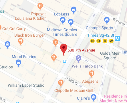 Google Map of 530 7th Avenue, Suite 1605,New York,NY,10018,USA
