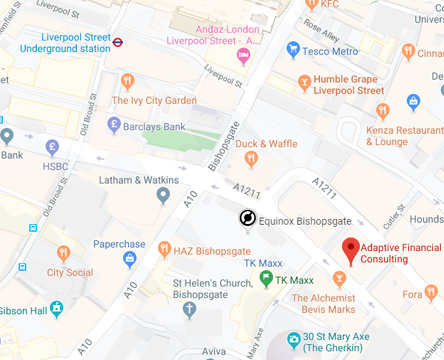 Google Map of Mary Axe, London EC3A 8BE,